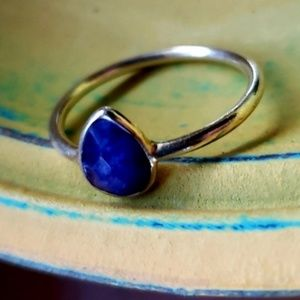 Raw Blue Sapphire Ring in 14K/925